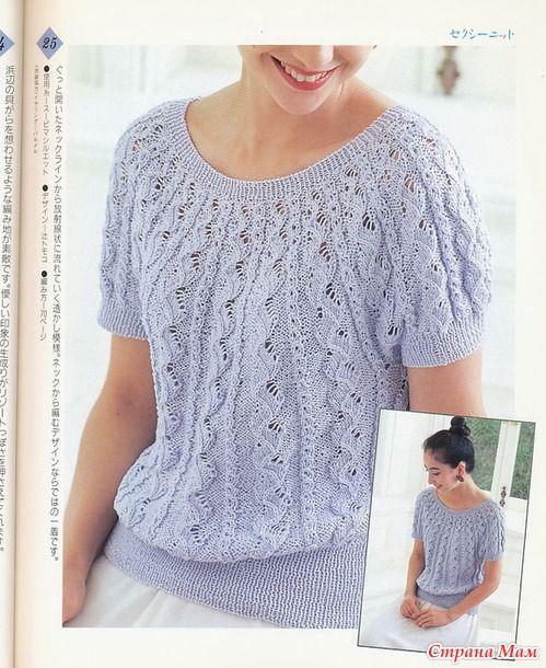 Пуловер связанный от горловины спицами.