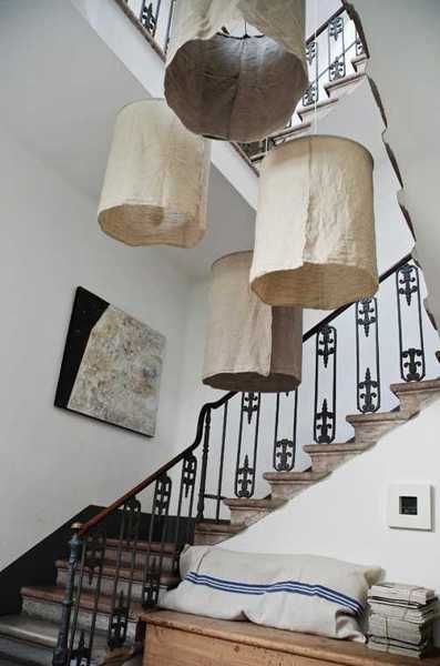 DIY Lighting Fixtures with Raw Linen Lamp Shades, Craft Ideas for Interior Decorating