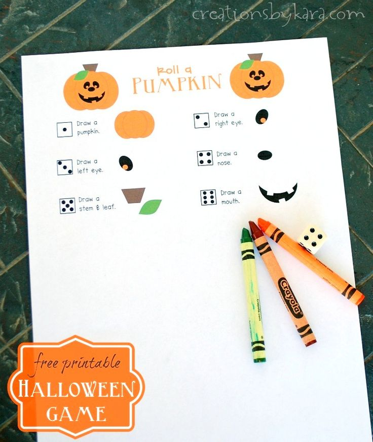 Print out this free Roll-a-Pumpkin game for family night fun, or use it at a classroom Halloween party. A fun and easy Halloween game!