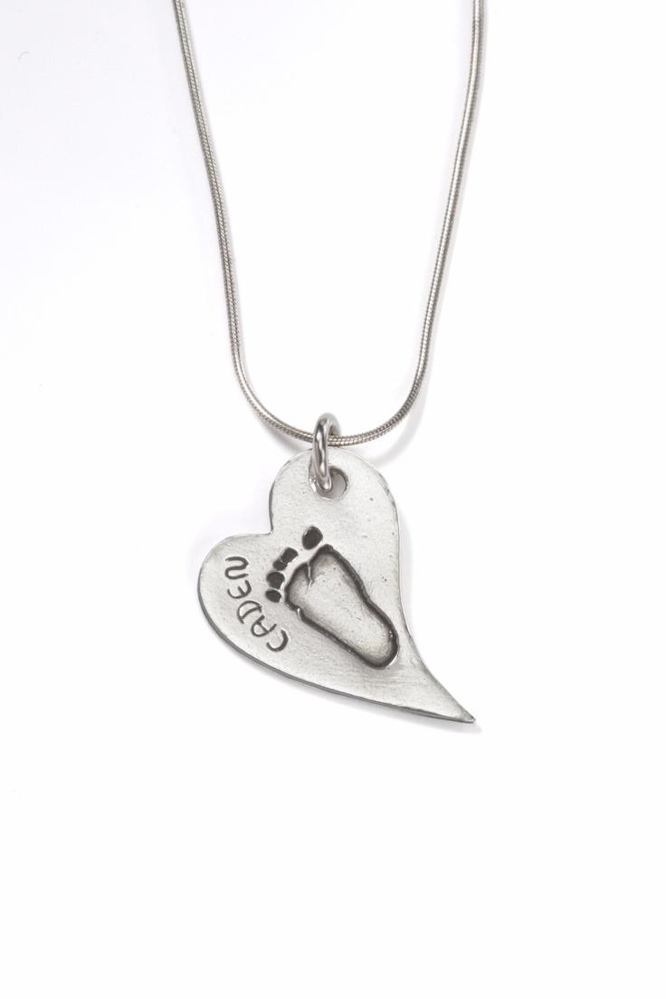 Little Kicker heart pendant on snake chain from Smallprint. www.smallprint.co.za