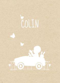 Geboortekaartje jongen in trapauto karton