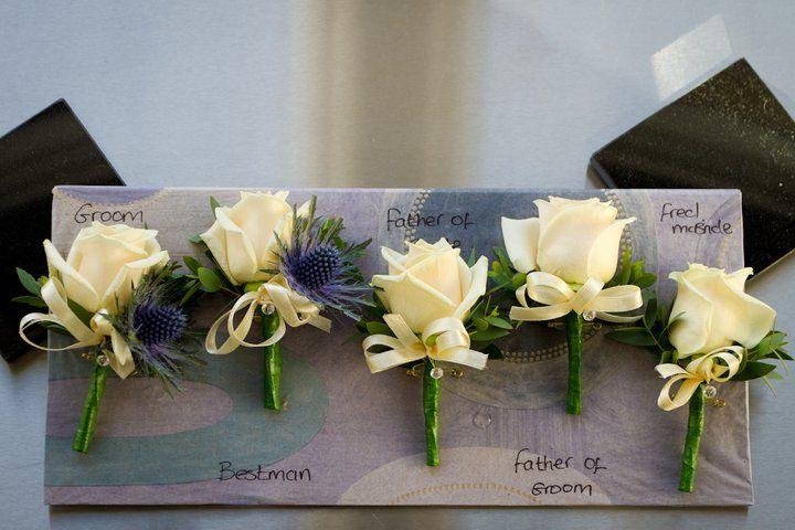 Mens White Rose Buttonholes Wedding Flowers Buttonholes