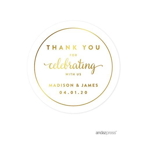 Andaz Press Personalized Round Circle Wedding Favor Gift Labels Stickers, Metallic Gold Ink, Thank You for Celebrating With Us, 40-Pack, Custom Made Any Name Andaz Press http://www.amazon.com/dp/B017R7GE26/ref=cm_sw_r_pi_dp_RJaWwb0X7646D