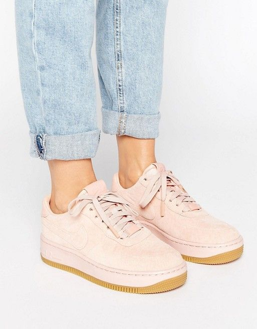 ... shop nike air force 1 upstep premium trainers in pink suede at asos. buy  dark ...