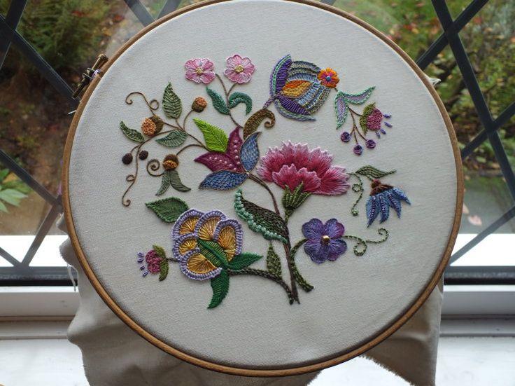 Crewel Embroidery, Autumn Flourish