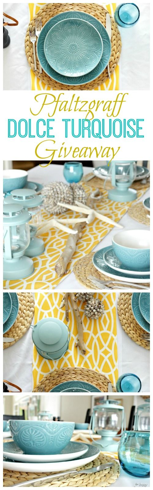 Waves & Sunshine Beachy Tablescape {with Pfaltzgraff Dolce Turquoise Giveaway!!}
