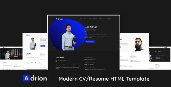 Adrion Is A Professional Looking Modern Personal Resume Cv Portfolio Html Template It Is Fully Responsive When Y Html Templates Templates Personal Resume