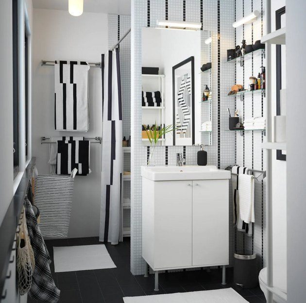 These Ikea Bathroom Lighting Ideas Are Easy On The Eyes And The Wallet Hunker In 2020 Bathroom Design Small Small Bathroom Ikea Bathroom Storage