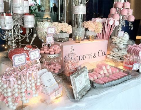 Tiffany Pink Baby Shower Candy Buffet