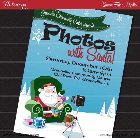 Pictures With Santa Flyer INSTANT DOWNLOAD // Christmas