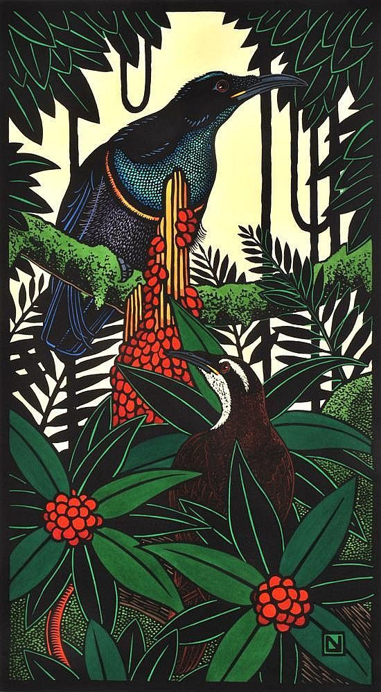 Magnificent Rifle Birds 1999-2007 Hand Coloured, Leslie V. Van Der Sluys (1939-2010) Australia