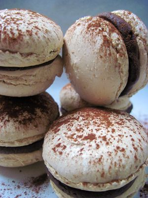 coffee flavored French Macarons filled with chocolate ganache