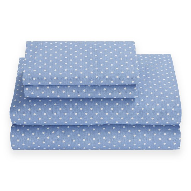 These Comfortable Tommy Hilfiger Sheets Feature White Dots On A Blue  Background. Made Of 100