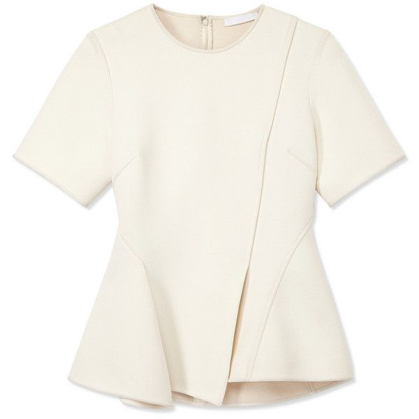 Alexander Wang Boxy Panel T-Shirt ($675) ❤ liked on Polyvore featuring tops, t-shirts, shirts, white, white scoop neck tee, boxy t shirt, scoop neck tee, alexander wang t shirt and asymmetrical shirt