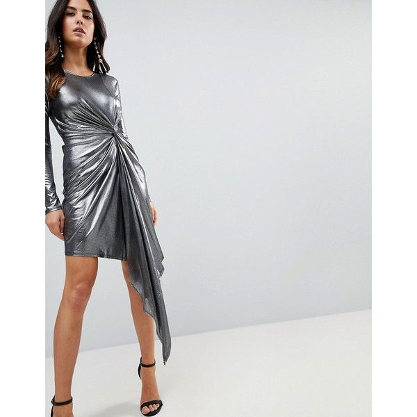 ASOS Metallic Bodycon Knot Front Slinky Mini Dress (410.345 IDR) ❤ liked on Polyvore featuring dresses, silver, bodycon dress, metallic dress, short bodycon dresses, asos cocktail dresses and asos dresses