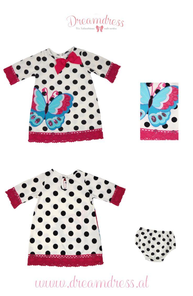 Schmetterlingskleid aus Baumwolljersey jetzt auf dreamdress.at! #Babykleid, #babymode, #mädchenkleid, #babygirl, #dreamdressBaby