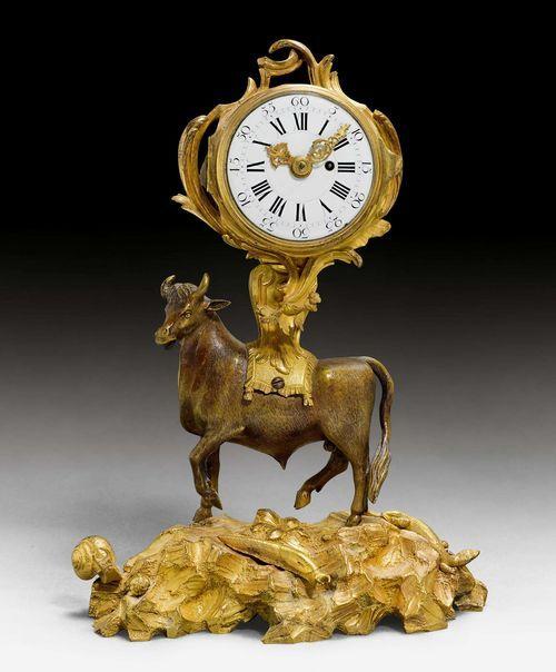 "SMALL MANTEL CLOCK ""AU TAUREAU"",Louis XV, the movement signed NICOLAS BRODON A PARIS (active ca. 1740/80), Paris ca. 1770."