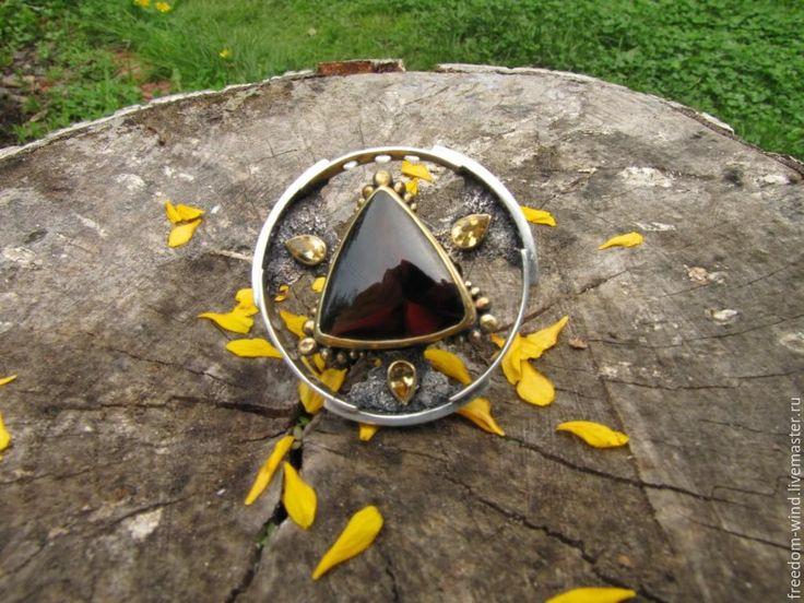 """Купить Кольцо """" Звездные врата"""" - разноцветный, кольцо с топазом, кольцо с винным топазом"""