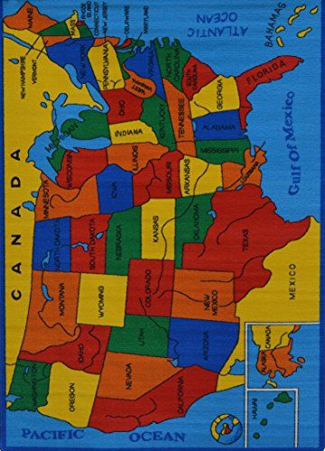 Rugs 4 Less Collection Educational USA Map Design Kids Area Rug 3u00273u0027u0027