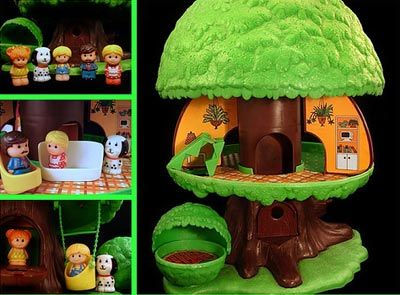 My beloved Tree Tots Tree House with tree parking garage and dog house bush.