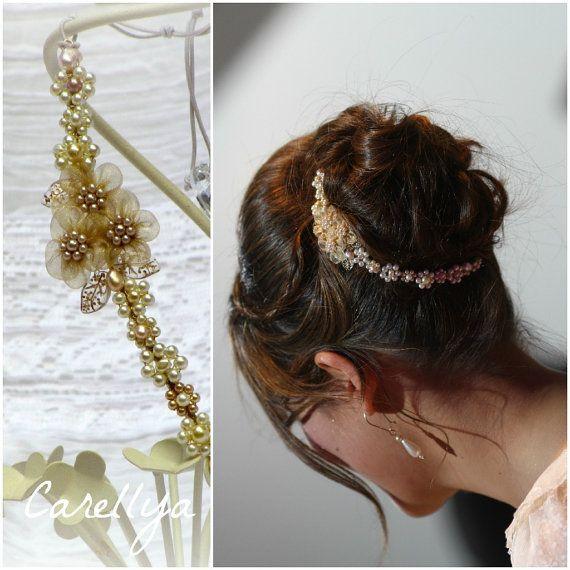 Beaded Wedding Tiara - Bridal Gold Headpiece With Pearls And Crystals - Wedding Hair Accessories  - SHIR