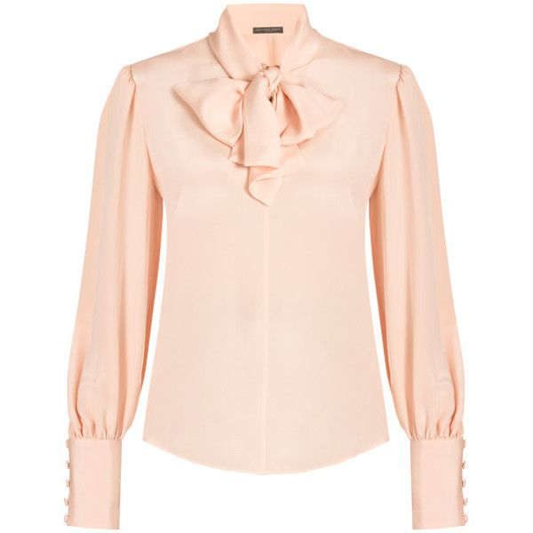 Alexander Mcqueen Pussy-bow Blouse ($1,768) ❤ liked on Polyvore featuring tops, blouses, shirts, pink, neck ties, silk shirt, pink silk blouse, silk tie neck blouse and fitted blouse