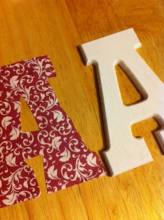 Mod Podge letters with decorative scrapbook paper on wooden letters
