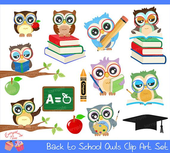 Back to School Owls Clipart Set