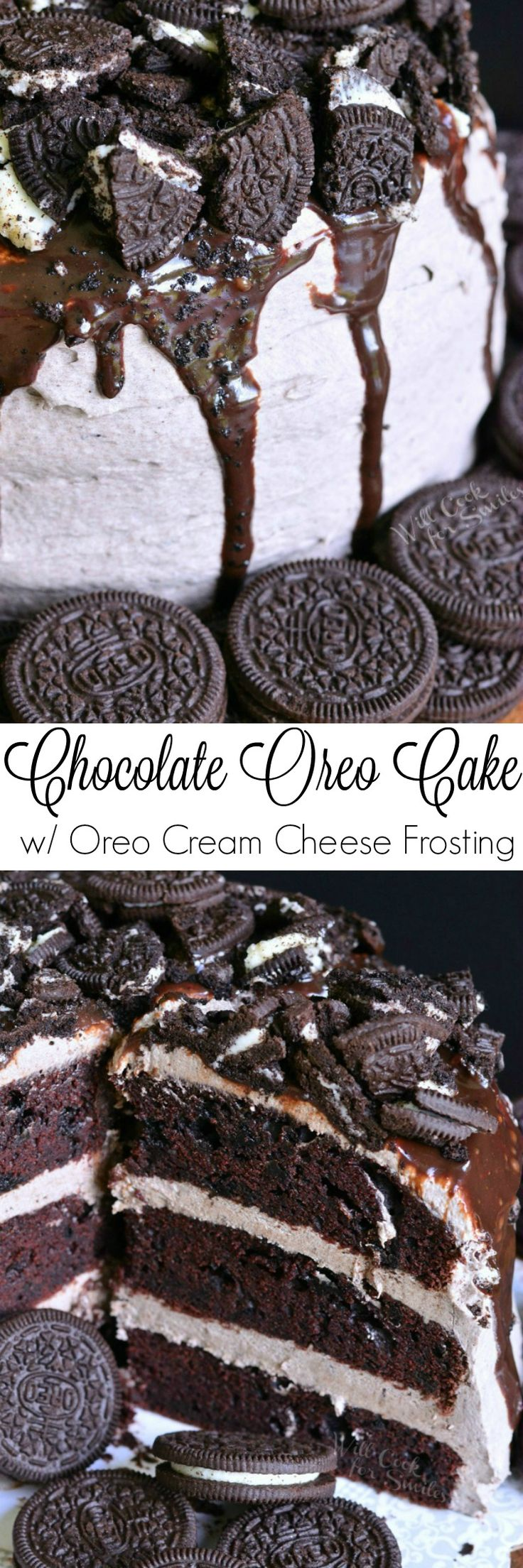 Chocolate Oreo Cake. An unbelievable, absolutely HEAVENLY Oreo cake baked with Oreo cookies inside and then filled and frosted with smooth Oreo Cookie Cream…