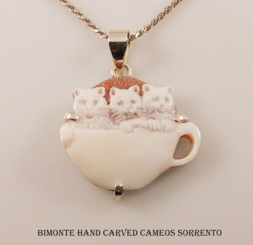 Cats in a Cup Cameo Necklace Bimonte Cameos Coral Sorrento