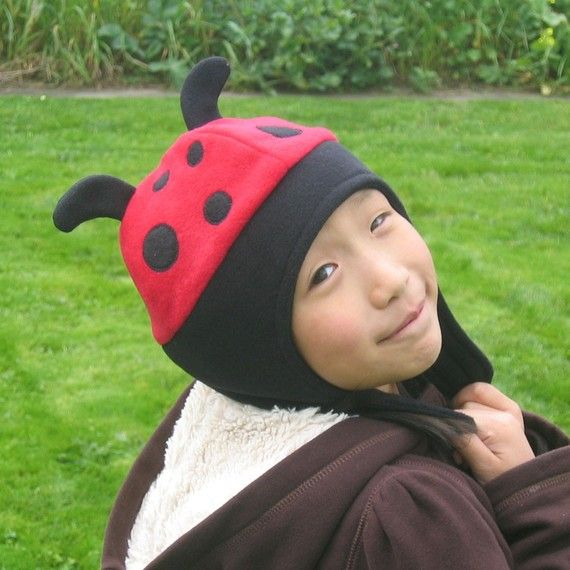 Lady Bug Fleece Hat with Strap Baby Toddler by DinkyDimples