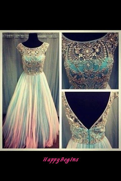 Long scoop backless beaded prom dress/ long prom dress 2014 on Etsy, $179.00  Of course in white:) maybe do some color in it