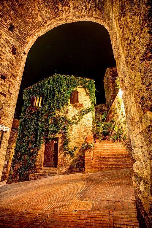 Cobblestone Pathways in Siena, Italy