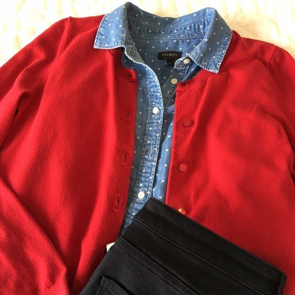 Talbots sweater cardigan Beautiful red cotton sweater. EUC. Talbots Sweaters