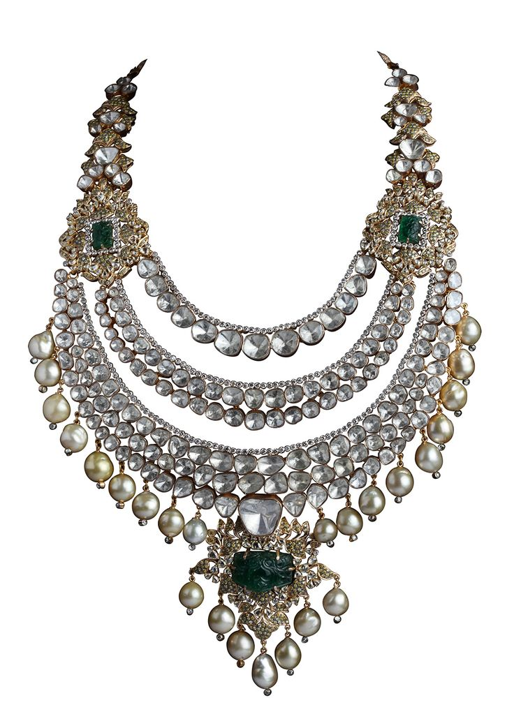 Birdhichands pearl, polki, emerald and diamond-studded necklace, from the Amér collection.