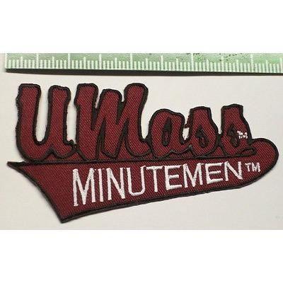 """NCAA U Mass MINUTEMEN 4 1/4"""" Script Over Banner Iron-On Patch"""
