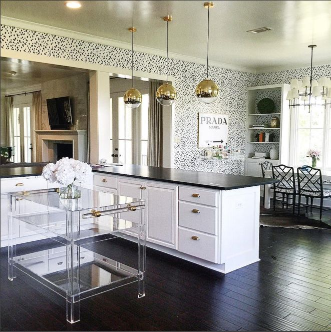 Lucite island and seeing spots. Katie Kime inspired living.