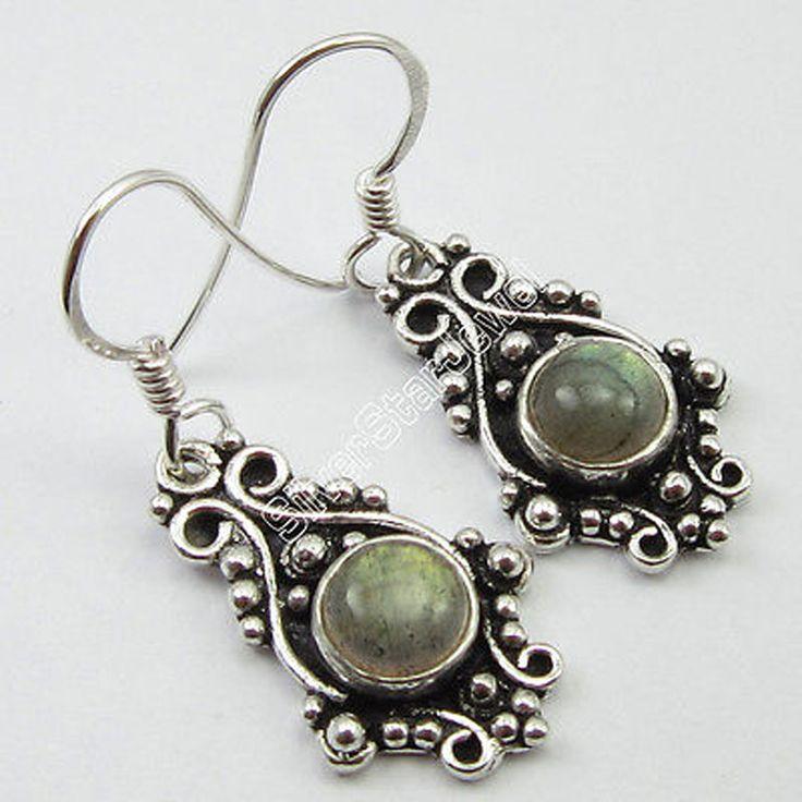 New Trend TIBETAN Jewelry,  Pure Silver ROUND LABRADORITE ART Earrings 3.4 CM