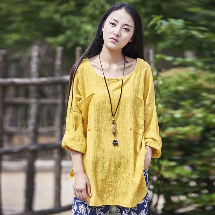 Solid Yellow Long sleeve Linen Women Blouses Loose Plus size Casual Brand Blouse Shirt Brand Summer Tops White Linen Shirts B041