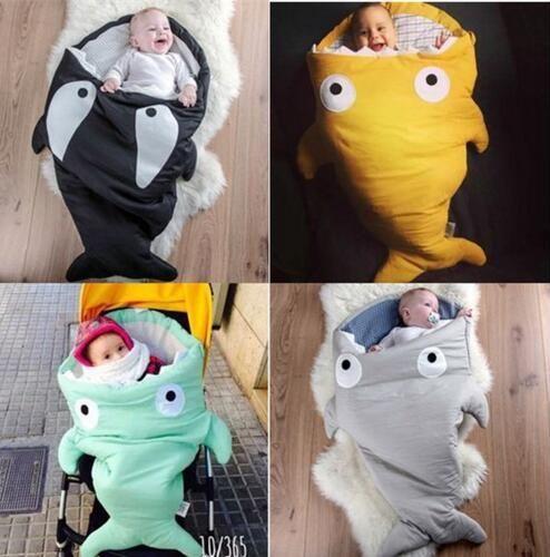 Kids shark mermaid tail blanket children bedding swaddle kids baby soft cotton sleepbag