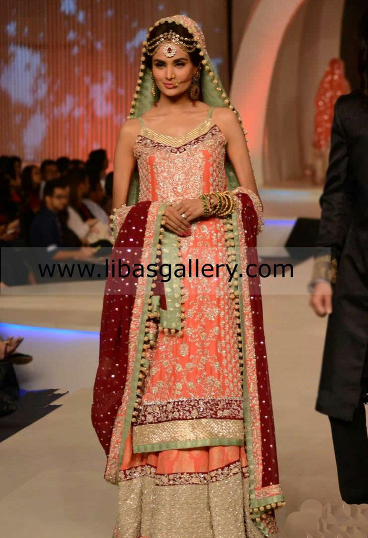 Pakistani Bridal Lehengas and Sharara Collection For Weddings By Zainab Chottani Bridal Lehenga, Zainab Chottani Wedding Dress, Zainab Chottani Latest Collection, Lehenga, Sharara, Gharara, Dupatta, Kamiz, Wedding Dupatta, Wedding Dress, Bridal Dress by www.libasgallery.com