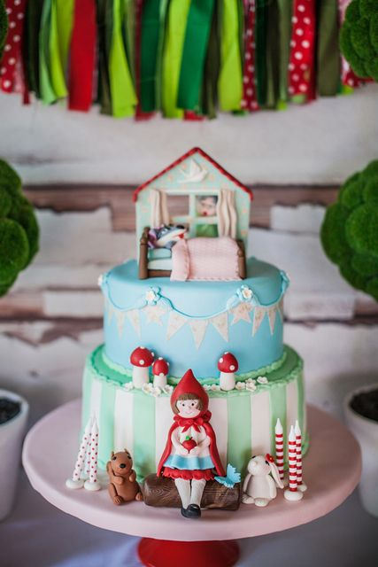 Awesome cake at a Little Red Riding Hood Party!   See more party ideas at CatchMyParty.com!  #partyideas  #woodland