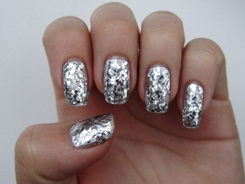 silver sparkly nails | Nails | Pinterest | Silver nails ...