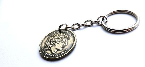 Greek coin keychain Alexander the Great, Ancient Greece, Men's gifts, Greek charm, Upcycled coin, Greek coin, Keychains, Charms, Coins, 1992