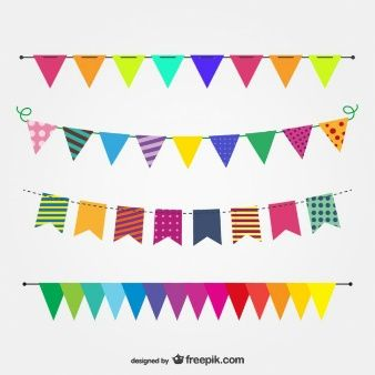 Imagen vectorial banderas de fiesta