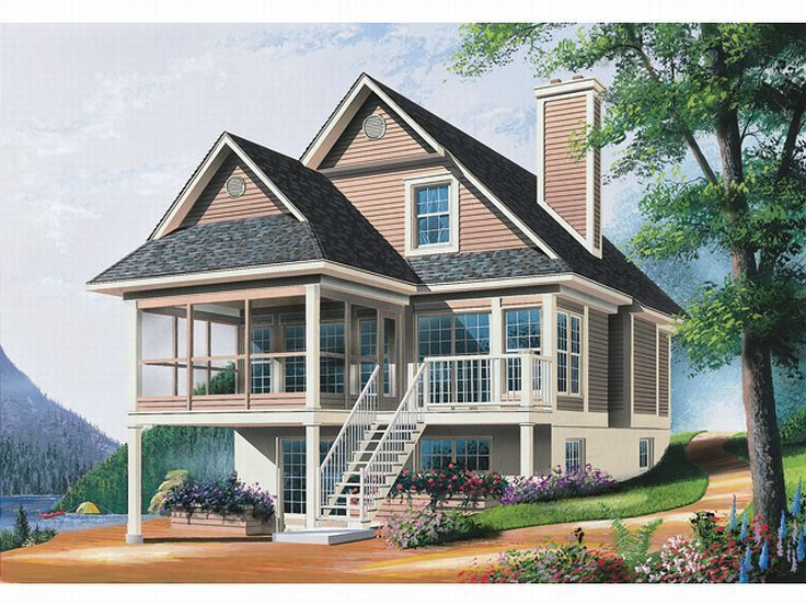 027h 0071 waterfront house plan offers screen porch - Waterfront House Plans