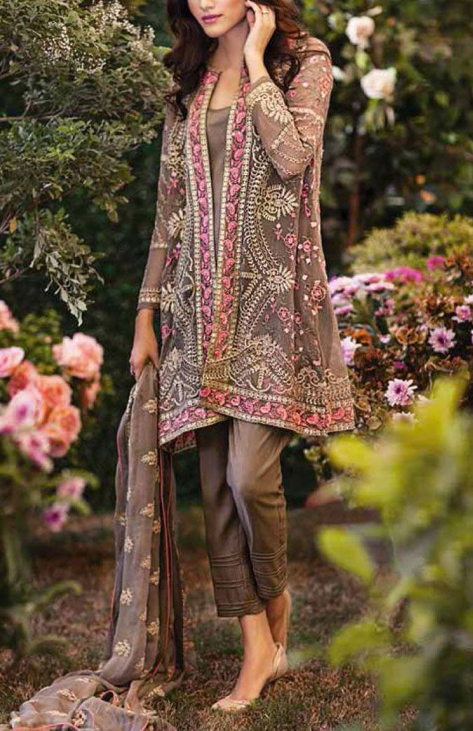 Buy Brown Embroidered Chiffon Dress by Mina Hasan 2015.