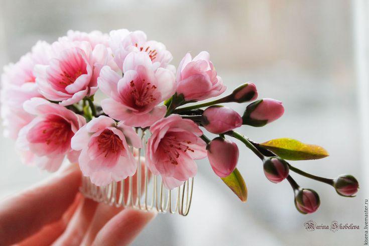 Купить Гребень и бутоньерка с сакурой - розовый, свадебное украшение, гребень для невесты, гребень с цветами