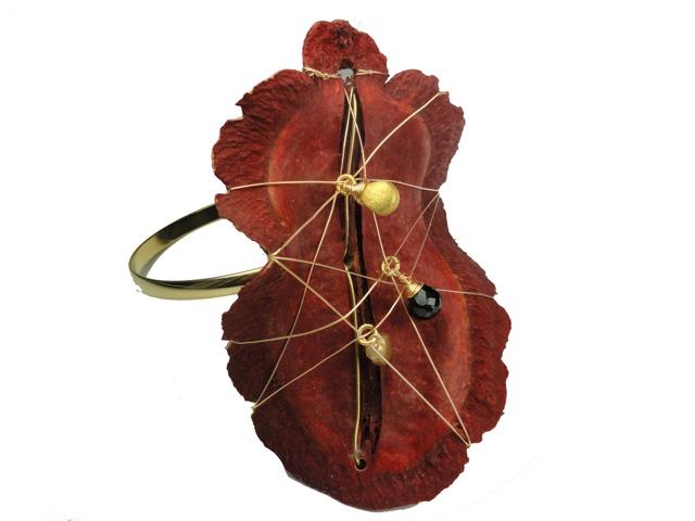 Jacaranda Seed Pod Forearm Bangle-Red