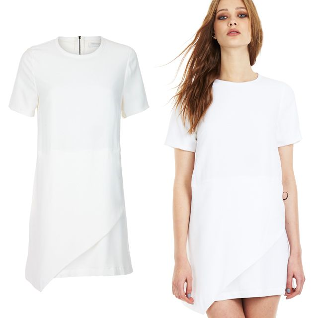 Lines Shift Dress in White